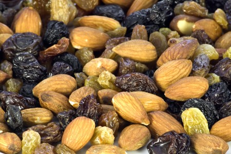 Almond nuts and raisin